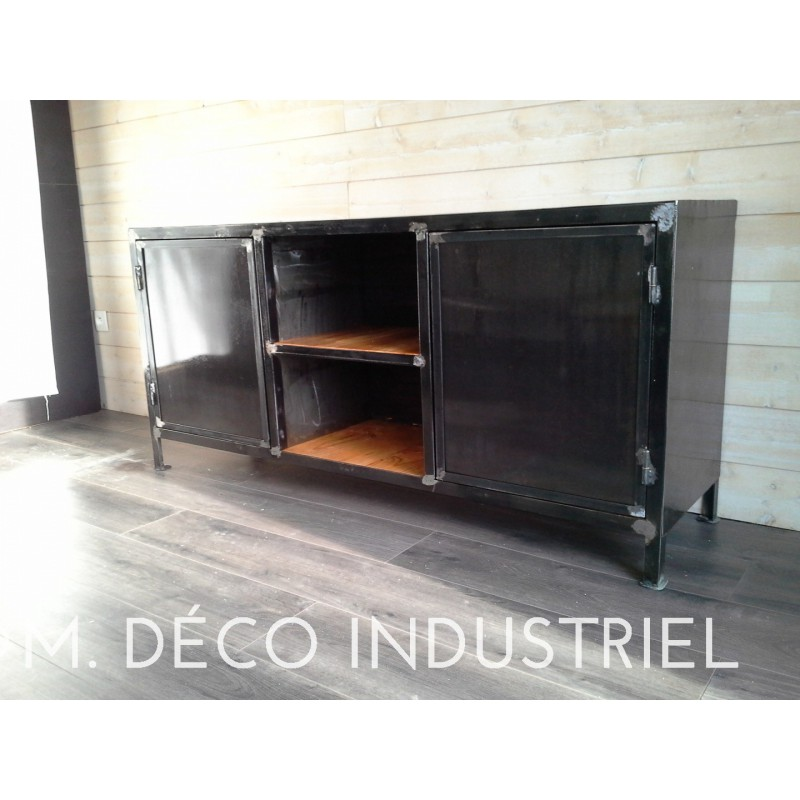meuble bas industriel acier 2 portes aciers bross s m d co industriel. Black Bedroom Furniture Sets. Home Design Ideas