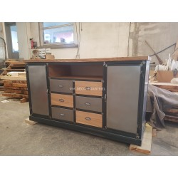 Meuble de tv buffet de style industriel 2 portes acier 6 tiroirs