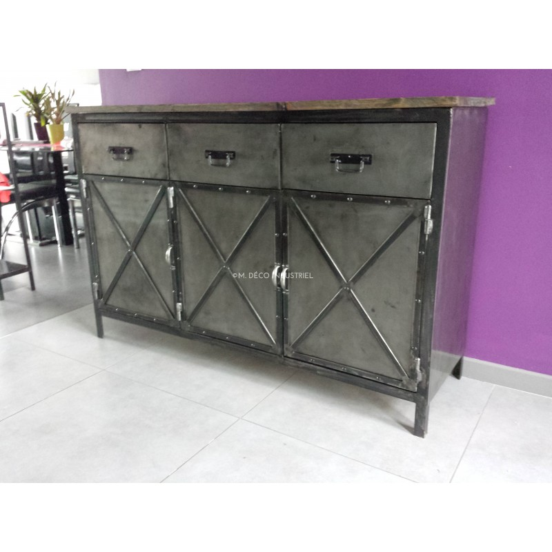 buffet industriel 3 portes acier et 3 tiroirs fa ade acier. Black Bedroom Furniture Sets. Home Design Ideas