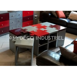 Table basse puzzle design industriel