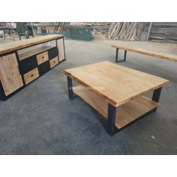 Meuble industriel table basse bord naturel pin massif