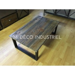 Table basse industriel pin massif