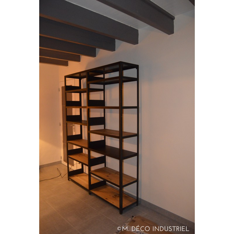 biblioth que industriel mixte tag re acier et bois massif m d co industriel. Black Bedroom Furniture Sets. Home Design Ideas