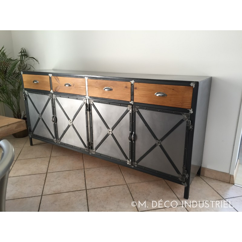 meuble industriel buffet 4 portes plateau acier m d co industriel. Black Bedroom Furniture Sets. Home Design Ideas