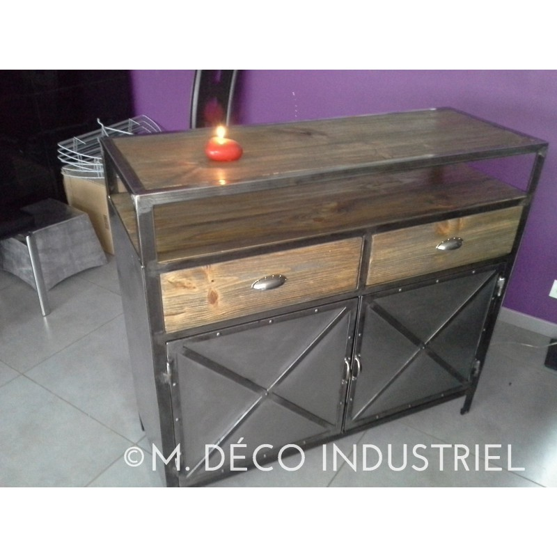 buffet industriel 2 portes acier et bois massif vieilli m d co industriel. Black Bedroom Furniture Sets. Home Design Ideas