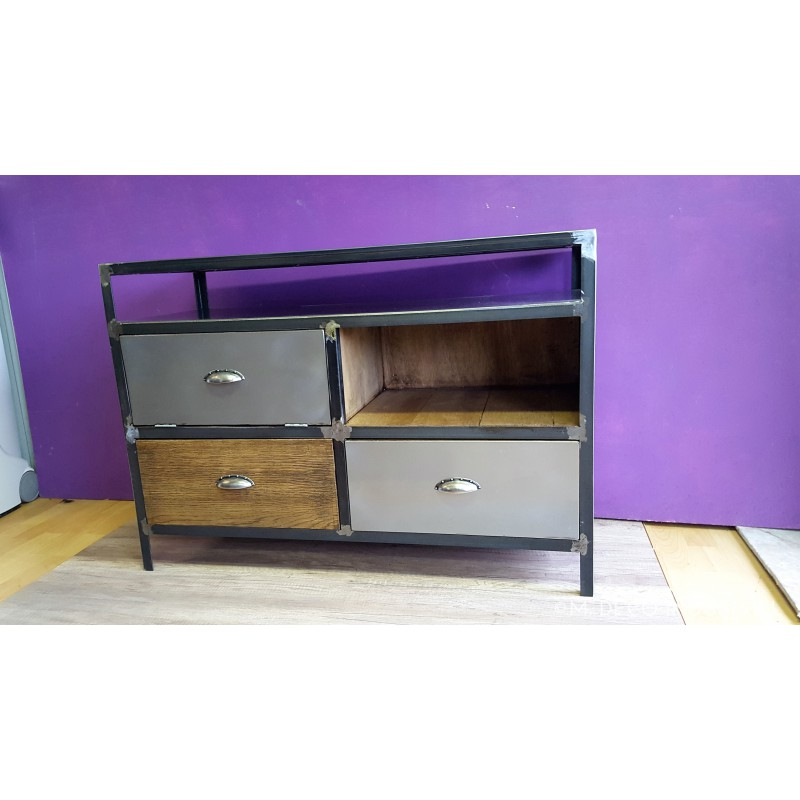 meuble industriel tv acier et bois vintage m d co industriel. Black Bedroom Furniture Sets. Home Design Ideas